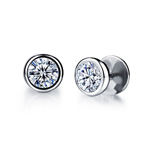 Fashion Earrings Titanium Steel AAA Rhinestone Stud Earrings for Women/Men