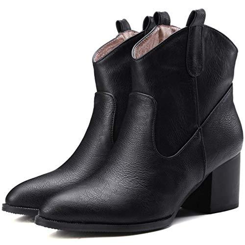 Pull Blocco Stivali Scarpe Donna On Western Tacco Alto alla Nero Caviglia TAOFFEN CYpq5SnUq