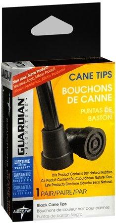 Guardian 7/8'' (2.2cm) Diameter Cane Tips, 1 Pair, Black