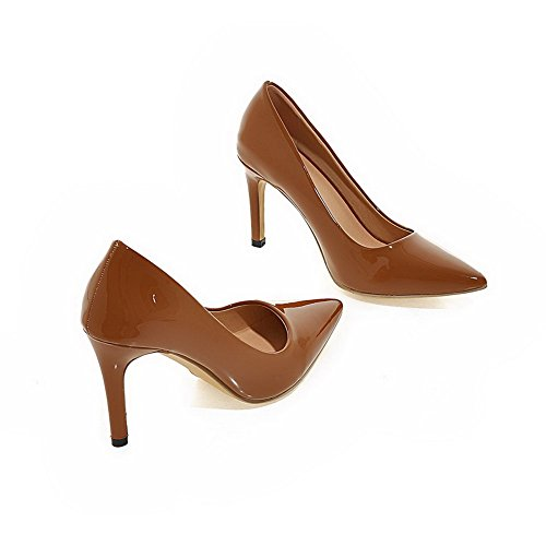VogueZone009 Women's Pull-On PU Pointed Closed Toe Spikes-Stilettos Solid Pumps-Shoes Brown Erc7tHx
