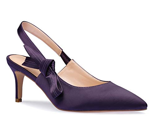Slingback Satin Pumps Pointy Toe Kitten Heels Sexy Elegant Stiletto Mid Heel Wedding Party Shoes Purple Pump 7.5 M US ()