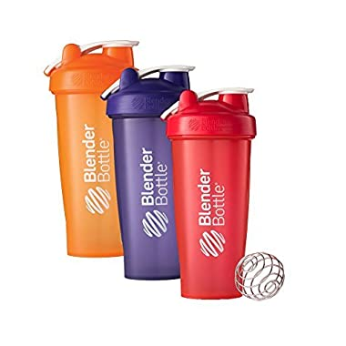 28 Oz. Hook Style Blender Bottle W/ Shaker Bundle-Full Color Orange/Purple/Red