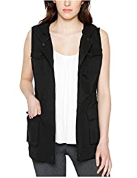 Matty M Ladies' Hooded and Full Zip Utility Vest (Black, Large)