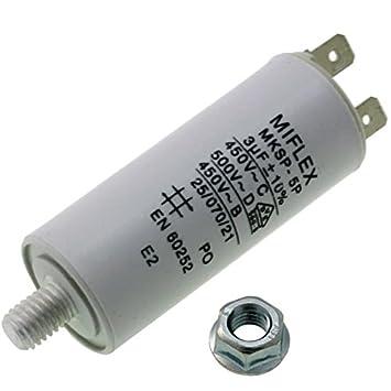 2/µF Cable de 25 x 51 mm; Miflex; 2uF Condensador de Arranque de Motor 450/V