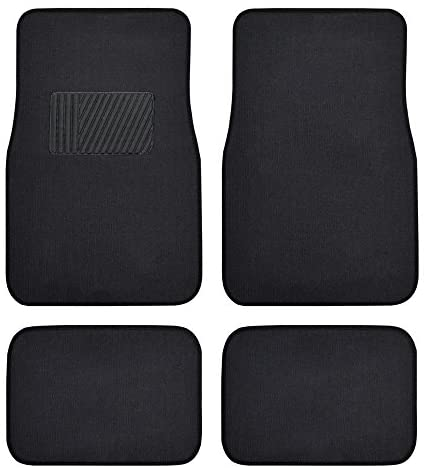 BDK Classic Carpet Floor Mats for Car & Auto – Universal Fit -Front & Rear with Heelpad (Black) – 45142