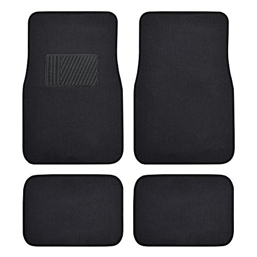 (BDK Classic Carpet Floor Mats for Car & Auto - Universal Fit -Front & Rear with  Heelpad (Black) - 45142)