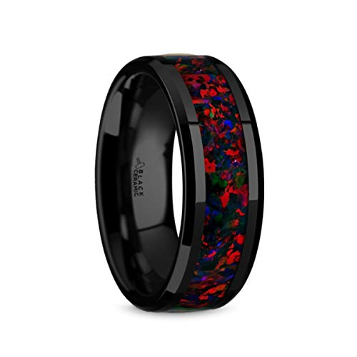 Thorsten Matrix | Tungsten Rings for Men | Tungsten | Comfort Fit | Wedding Ring Band with Black Opal Inlay and Polished Beveled Edges - 8mm