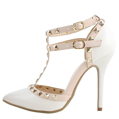 ArcEnCiel Women'S Shoes Studded Buckle High Heel Sandal Whitematte zPYnzFLY