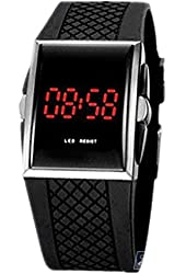 Ouku Free Shipping Unisex Red LED Digital Rectangle Dial Black Silicone Band Wrist Watch Men's Women's Fashionable Watches Casual Watches