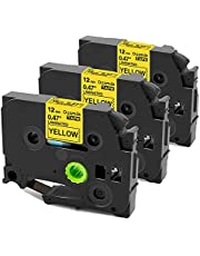 Replacement for Brother TZe-631 Black on Yellow Tape TZE631 12mm 0.47 Inch Laminated Compatible with Brother P-Touch Label Tape PTD210 PTH110, 3-Pack