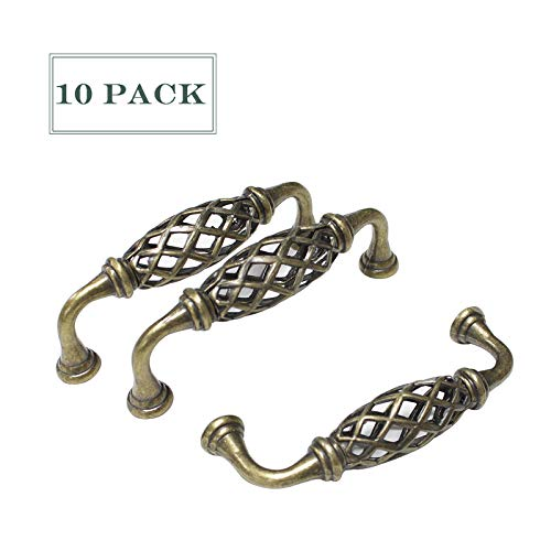 10 Pack Antique Bronze Cabinet Pulls 4.4 inch Total Length Braided Drawer Dresser Closet Cupboard Pull Handles 3.8'' Hole Spacing Vintage Home Hardware