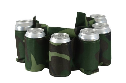 [Camo Beer Belt, Holds 6 Cans or Bottles - Camouflage Holster] (Beer Drinking Hat)