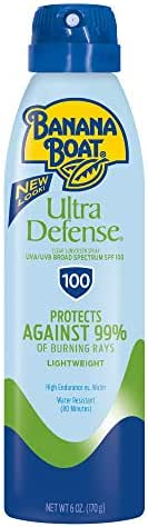 Banana Boat Sunscreen Ultra Defense MAX Skin Protect Ultra Mist Broad Spectrum Sun Care Sunscreen Spray - SPF 100, 6 Ounce