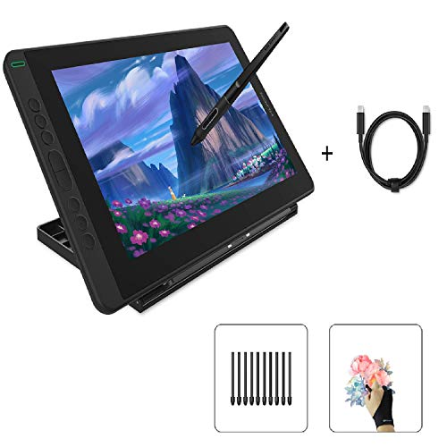 Huion Kamvas 13 Pen Display Drawing Tablet with Screen, Purple, Stand Included & Full-Featured Type-C Cable USB-C to USB-C Cable