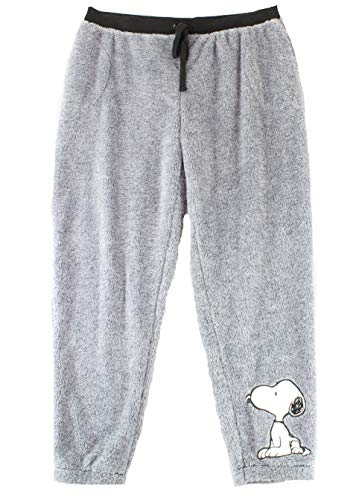 Peanuts Women's Lounge Pants Snoopy Fleece Sleepwear Gray XL