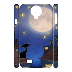 Customized Durable Case for SamSung Galaxy S4 I9500 3D, Cat, Sun and Moon Phone Case - HL-506593 wangjiang maoyi