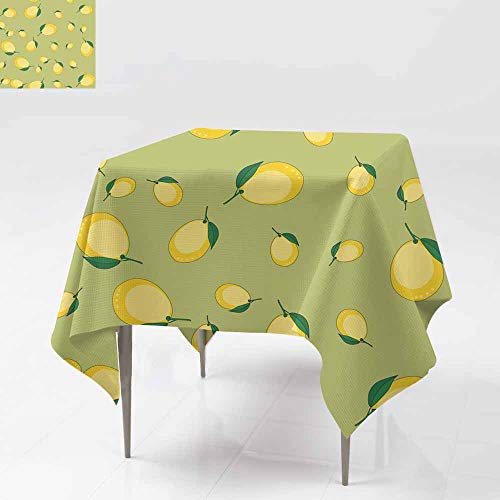 Custom Tablecloth,Seamless Pattern with Cartoon Lemons Fruits Repeating Background Wallpaper 589 Party Decorations Table Cover Cloth 54x54 Inch