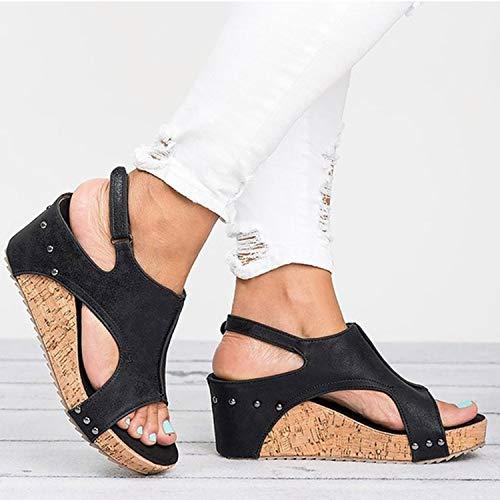 Sandals Wedges Shoes Women Heels Gladiator Summer Shoes Peep Toe Wedge Heels Sandals,Type 1 Black,42 (Newcastle Counter)