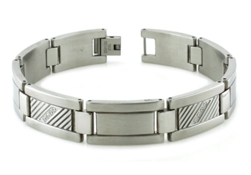Stainless Steel CZ and Diagonal Groove Accent Link Bracelet w/ Free Personalized Engraving