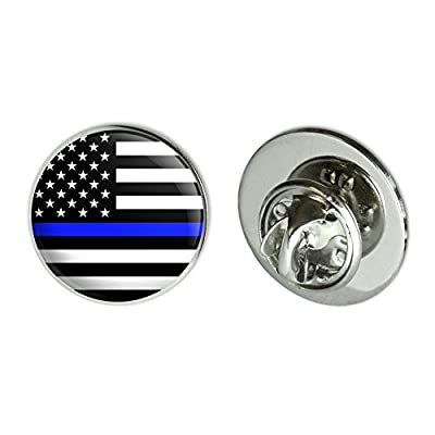 "Cheap Thin Blue Line American Flag Metal 0.75"" Lapel Hat Pin Tie Tack Pinback free shipping"