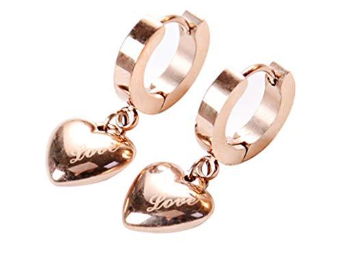 - AIEDE Rose Gold Round Earring Heart Love Dangle Hoop Earrings