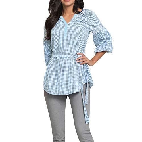 Shirt Back La Bleu Carreaux POTTOA Femme Sweat Neck Tops Femmes Mode Blouse en T dcontract T Shirt V Automne Longues Manches Les Shirt Shirt Vrac Longues T Capuche Imprimes Sweatshirt SwwHPqxC