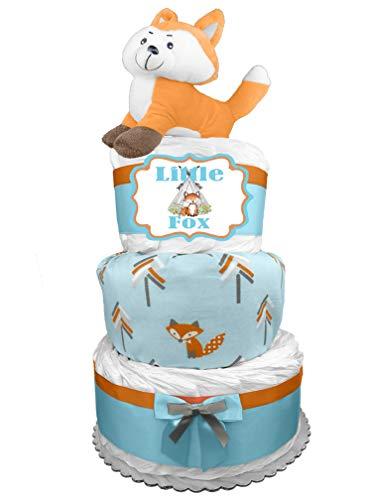 Fox 3-Tier Diaper Cake - Baby Shower Gift for a Boy - Newborn Gift Idea]()