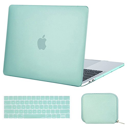 MOSISO MacBook Pro 15 inch Case 2019 2018 2017 2016 Release A1990 A1707, Plastic Hard Shell & Keyboard Cover & Water Repellent Neoprene Storage Bag Compatible Newest Mac Pro 15 Touch Bar,Mint Green
