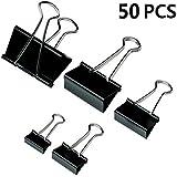 ISusser 50 Pieces Binder Clips Paper Binder Clips, 5 assorted Sizes,Black