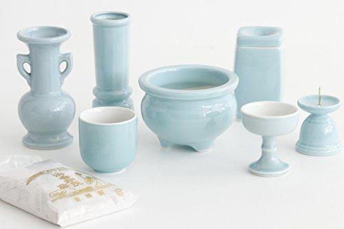 Yamako Buddhist Altar Fittings Ceramic Eight Piece Set Celadon