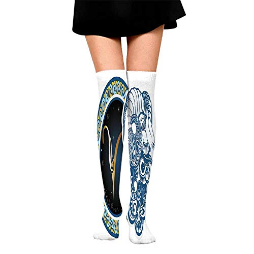 Casual Chaussette Femme Zodiac,Astrological Aries Symbol with Horned Head Ram Goat Animal Terrestrial Event Image,Blue Gold,socks with grips for women and wings