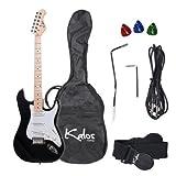 Kalos 39-Inch Electric Guitar Pack, Full Size, Metallic Black - 1EG-MBK