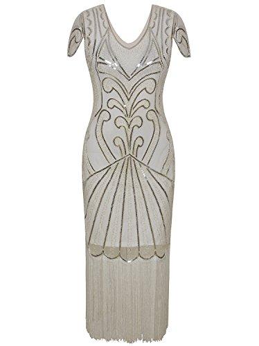 Vijiv Long 1920 Vintage Gatsby Beaded Embellished Fringe Cocktail Flapper Dress, Beige Silver, (Roaring Twenties Women's Fashion)