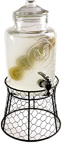(Circleware 69141 Rooster Beverage Drink Dispenser with Stand and Glass Lid, 1.3 gallon)