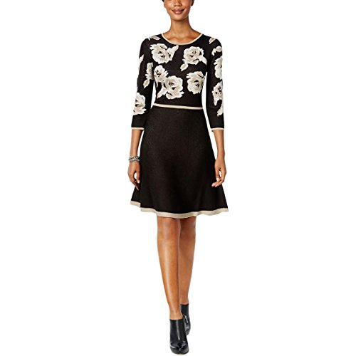 Jessica Howard Womens Woven Roses Long Sleeves Sweaterdress Black PXL