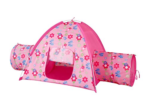 Powerpuff Girl Costume Makeup (kids Tents Floral Garden 2 Tunnel Playhouse Toddler Playground Kids play tent Indoor & Outdoor Pink Princess Play House Great Game & Toy Gift For Children Fun By Alvantor)