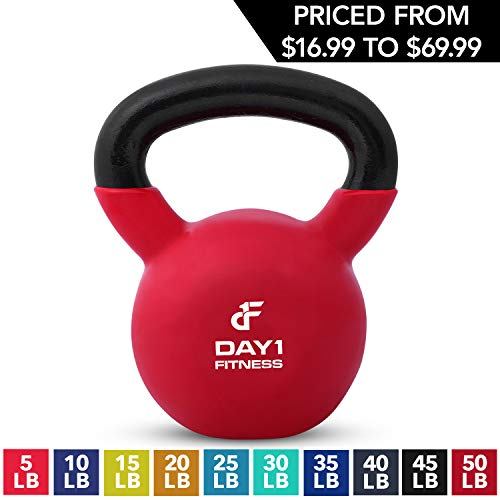 Kettlebell Weights Vinyl Coated Iron by Day 1 Fitness- 50 Pounds - Coated For Floor and Equipment Protection, Noise Reduction - Free Weights For Ballistic, Core, Weight Training