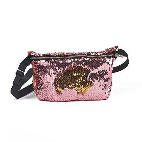 Tinksky Double Color Sequins Waist Bag Casual Outdoor Sports Bag (Gold + Pink)