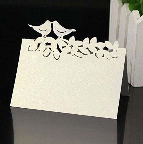 Krismile® Pack of 48 White Laser Cut Perfect Pair Love Birds Wedding Table Numbers Name Place Card Banquet Party Decoration/Laser Cut Two Birds Kissing Pattern Paper Card Marriage Party Banquet Place Card Table Number Name Holder Love Birds Place Card Holder