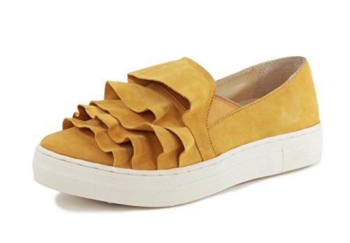 Seychellen Vrouwen Aardbeving Fashion Sneaker Mosterd Suède