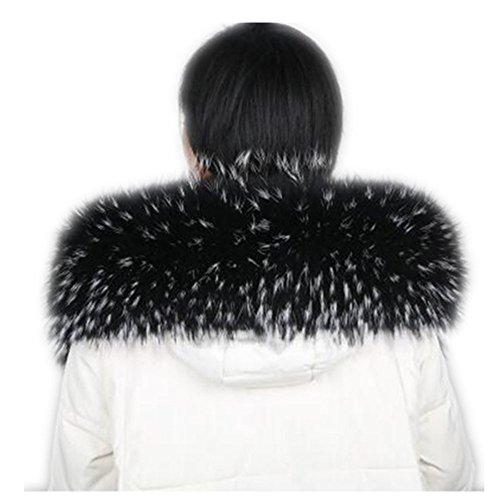 Gegefur Winter natural raccoon women's scarf long sleeve coat scarf neck with button holes (90cm, Black with white)