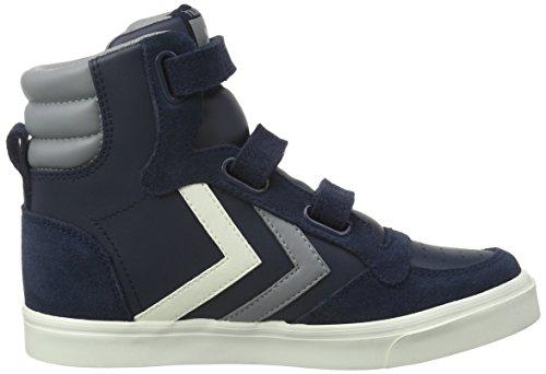 Hummel Stadil Leather Sneaker Jr, Zapatillas Altas Unisex Niños Azul (Total Eclipse)