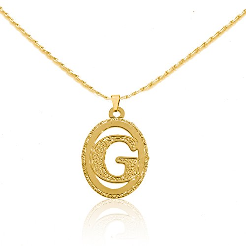 Beautiful Initial Oval Pendant Necklace  - 24k Oval Pendant Shopping Results