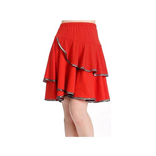[loveUshop Woman Latin Samba Salsa Tango Ballroom Dance Tap Dancing Costume Dress Practising Wave Skirt (red,] (Chacha Dance Costume)