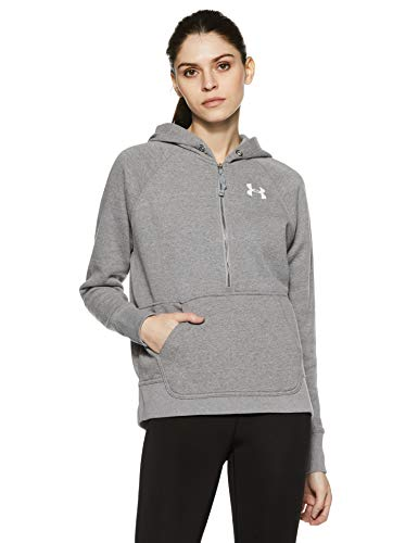 Under Armour Women's Favorite Fleece 1/2 Zip Hoodie,True Gray Heather /Midnight Navy, X-Small ()