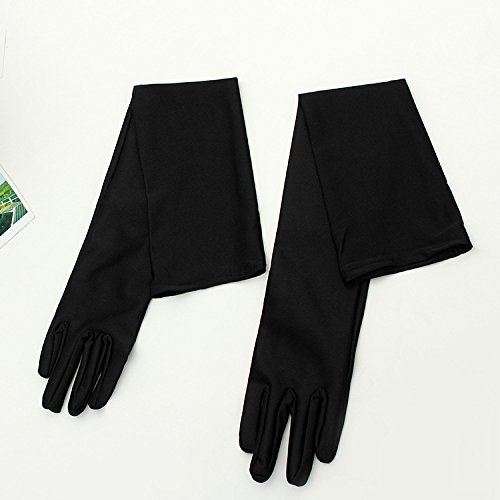 EAMALL Long Solid Black Elbow High Elastic Spandex Gloves 22