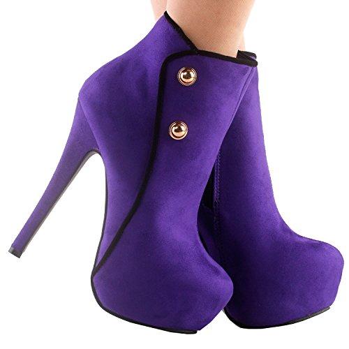 Show Story elegante Gr¨¹n/schwarz Button Stiletto Heel Platform kn?chel stiefel,LF80829 Violett