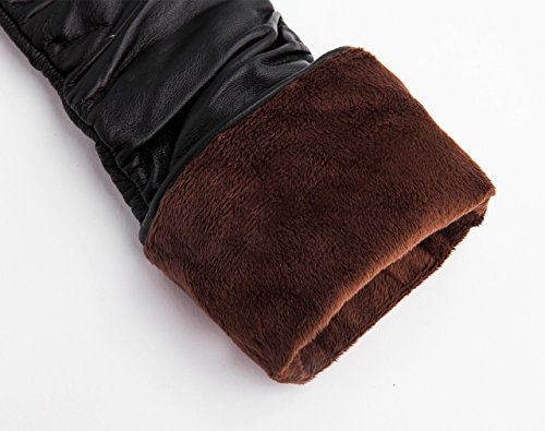YISEVEN Women's Touchscreen Genuine Leather Warm Lined Winter Long Evening Gloves made of Italian Sheep Nappa (CYBER MONDAY SAVING!),black-8