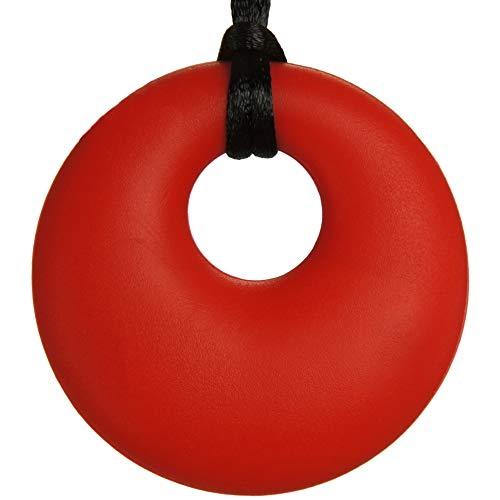 Sensory Chew Necklace for Boys, Girls and Adults | Silicone Chewy Pendant Jewelry for Autism, ADHD, Teething Babies or Special Needs Kids | Helps Reduce Chewing, Biting, Fidgeting and Oral Pain