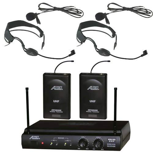 Audio 2000s 6032 UHF Wireless Microphone with 2 Headband Headsets and 2 Lavalier Microphone Set